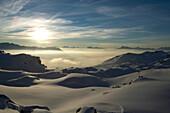 Winter, Sunset, Skier, St Luc, Chandolin, Valais, Switzerland