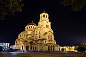 Illuminated Saint Alexander Nevski Cathedral at night, Sofia, Bulgaria, Europe
