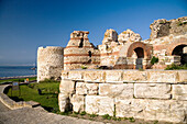 Ruins of medieval fortification walls, Nesebar, Black Sea, Bulgaria, Europe