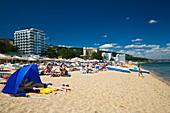 People on the Golden Beach, Zlatni Pjasuci, Black Sea, Bulgaria, Europe