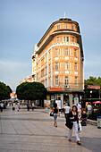 People at pedestrian zone at Varna, Bulgaria, Europe