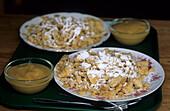 meal at alpine hut, Kaiseschmarrn, cut-up and sugared pancake with raisins, Upper Bavaria, Bavaria, Germany