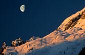 moon over alpine pasture of Hochalm, Berchtesgaden range, Upper Bavaria, Bavaria, Germany
