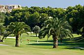 People on a golf course, Real Golf de Bendinat, Majorca, Balearic Islands, Spain, Europe