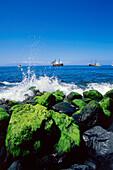 Excursion boats, Playa de Masca, coast of Masca canyon, Tenerife, Canary Islands, Atlantic Ocean, Spain