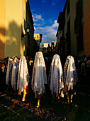 Ladies with mantillas, lace scarfs, traditional headcovering, procession on floral carpets, old town of La Orotava, Tenerife, Canary Islands, Spain