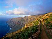 Rainbow over coastline of Las Playas, Mirador de Isora, El Hierro, Canary Islands, Spain