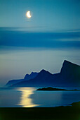 Moon over North-West Coast, Flakstad, Lofotes, Norway