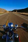 Harley Davidson on road between Lompoc and Santa Barbara, Highway No. 1, California, USA