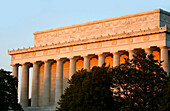 The Lincoln Memorial building in the afterglow, Washington DC, America, USA