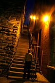 Illuminated stairs at night, Georgetown, Washington DC, America, USA