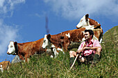 Shepherd with cows, Hohe Tauern, Salzburger Land, Austria