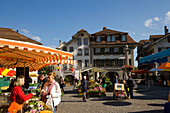 Saturday's Market in town hall square, Thun (largest garrison town of Switzerland), Bernese Oberland (highlands), Canton of Bern, Switzerland