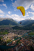 Tandem paragliding over Interlaken, Bernese Oberland (highlands), Canton of Bern, Switzerland