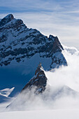 View to Sphinx Observatory (3571 m) at mountain Sphinx near Jungfraujoch (3454 m), also called the Top of Europe (highest railway station in Europe), Grindelwald, Bernese Oberland (highlands), Canton of Bern, Switzerland