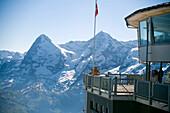 Piz Gloria and top station of the Schilthornbahn, location for James Bond novel and film, Schilthorn 2970 m, near Muerren, Bernese Oberland, Canton of Bern, Switzerland