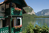 Close-up of a house at lake Hallstatt, Hallstatt, Salzkammergut, Upper Austria, Austria