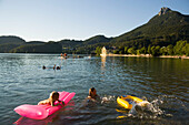 Children bathing in Lake Fuschl, Fuschl am See, Salzkammergut, Salzburg, Austria