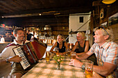 Group of tourists sitting inside a mountain hut and drinking beer while man playing accordion, Bichlalm (1731 m), Grossarl Valley, Salzburg, Austria