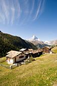 Wooden houses of the mountain village Findeln, Matterhorn, 4478 m, in the background, Zermatt, Valais, Switzerland