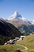 View to the mountain village Findeln, Matterhorn (4478 m) in background, Zermatt, Valais, Switzerland