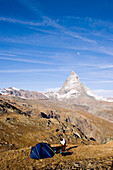 Tent on mountain, Matterhorn (4,478 metres) in background, Zermatt, Valais, Switzerland