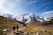 People hiking from the Gornergrat to the Monte Rosa-massif, Zermatt, Valais, Switzerland