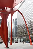 Flamingo sculpture (1974) by Alexander Calder at Federal Center Plaza, Chicago, Illinois, America