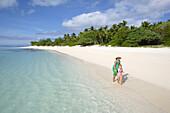 Woman with child on Nuku island, Tonga, South Seas