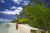 Woman at the beach, Fafa Island Resort, Tonga, South Seas