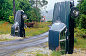 Scrap yard along Highway 7, New Zealand