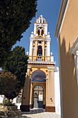 Bell tower of the monastery Moni Evangelismos, Simi, Symi Island, Greece