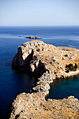 Elevated view of Saint Paul's Bay (Agios Pavlos), Lindos, Rhodes, Greece