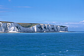 White Cliffs of Dover, View from Ferry on English Channel, Dover, Kent, England, Great Britain
