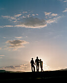 Family in sunset, Detmold, North Rhine-Westphalia, Germany, MR