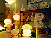 Alabaster statues, sale show Rossi, Volterra, Tuscany, Italy