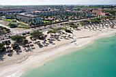 Luftaufnahme vom Palm Beach, Aruba, ABC-Inseln, Niederländische Antillen, Karibik