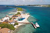 Luftaufnahme vom Vergnügungspark De Palm Island, nahe Oranjestad, Aruba, ABC-Inseln, Niederländische Antillen, Karibik