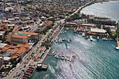 Luftaufnahme von Oranjestad, Aruba, ABC-Inseln, Niederländische Antillen, Karibik