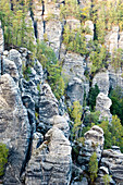 Rock formation, Bastei, Elbe Sandstone Mountains, Saxon Switzerland, Saxony, Germany