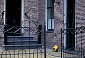 Edam, House entrance with clogs, Netherlands, Europe