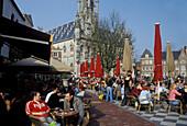 Middelburg Cafe in front of Stadthuis Cityhall, Zeeland, Netherlands, Europe
