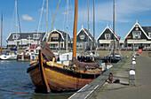 Boat at Havenbuurt harbour, Marken island, Netherlands, Europe