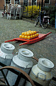 Edam, cheese and milk cans, Netherlands, Europe