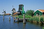 Windmills at Zaanse Schans, open-air museum, Netherlands, Europe