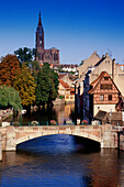 Ponts Couverts, bridge above the river Ill, view of the old town and cathedral, Strasbourg, Alsace, France, Europe
