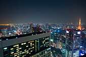 Business district with Tokyo Tower at night, Tokyo, Japan