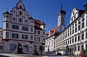 Former university and Jesuit College under blue sky, Dillingen at the river Danube, Bavaria, Germany, Europe