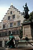 Brunnen vor dem Rathaus, Lindau, Bodensee, Bayern, Deutschland, Europa
