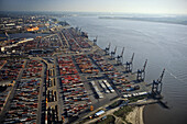 aerial photo of Bremerhaven, container port at the Weser river mouth